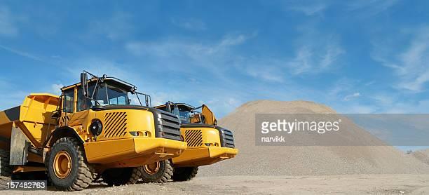 Big Yellow Trucks at Construction Site
