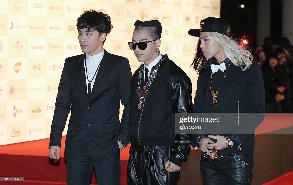 Bigbang pose for photographs upon arrival during '2nd Gaonchart K-pop Awards' at Olympic Hall on February 13, 2013 in Seoul, South Korea.
