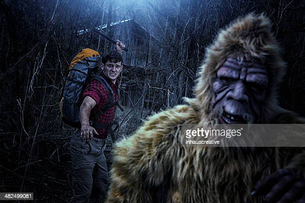 Bigfoot running from a hiker with an axe