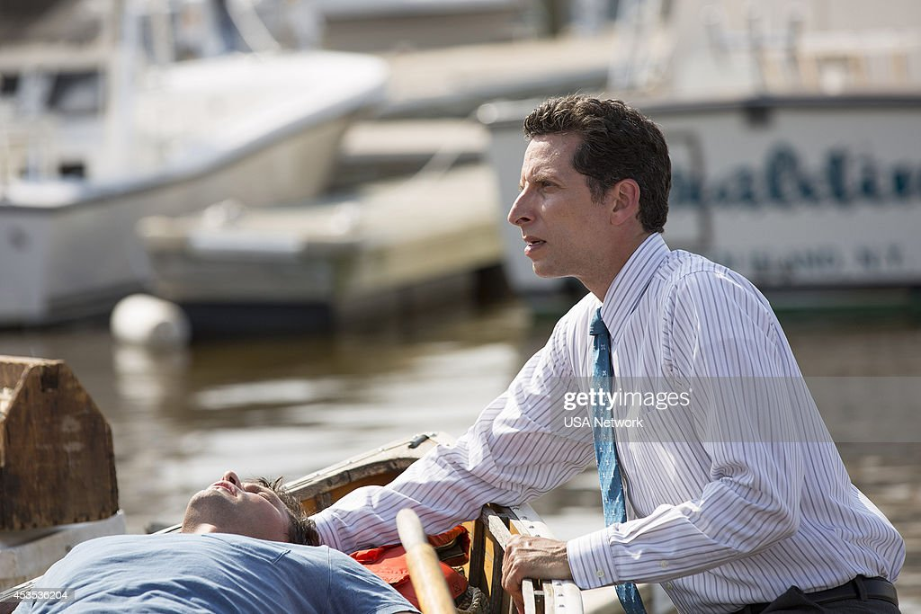 PAINS -- 'A Bigger Boat' Episode 612 -- Pictured: (l-r) <a gi-track='captionPersonalityLinkClicked' href=/galleries/search?phrase=Justin+Bruening&family=editorial&specificpeople=653887 ng-click='$event.stopPropagation()'>Justin Bruening</a> as Chase, <a gi-track='captionPersonalityLinkClicked' href=/galleries/search?phrase=Ben+Shenkman&family=editorial&specificpeople=228771 ng-click='$event.stopPropagation()'>Ben Shenkman</a> as Jeremiah Sacani --