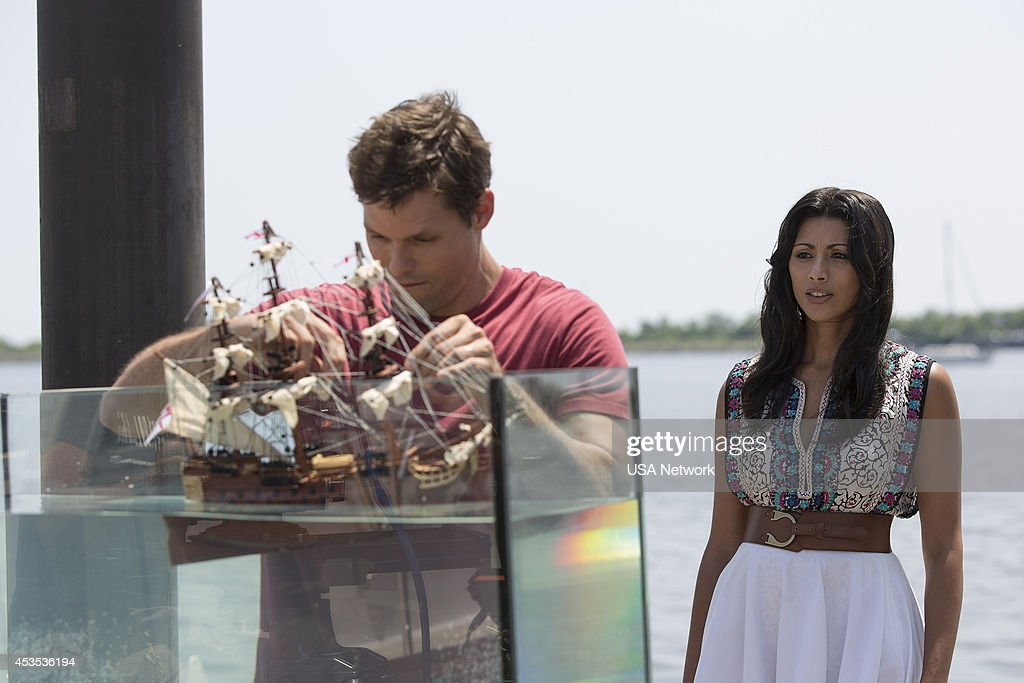 PAINS -- 'A Bigger Boat' Episode 612 -- Pictured: (l-r) Justin Bruening as Chase, Reshma Shetty as Divya Katdare --