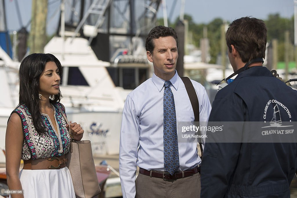 PAINS -- 'A Bigger Boat' Episode 612 -- Pictured: (l-r) <a gi-track='captionPersonalityLinkClicked' href=/galleries/search?phrase=Reshma+Shetty&family=editorial&specificpeople=4076704 ng-click='$event.stopPropagation()'>Reshma Shetty</a> as Divya Katdare, <a gi-track='captionPersonalityLinkClicked' href=/galleries/search?phrase=Ben+Shenkman&family=editorial&specificpeople=228771 ng-click='$event.stopPropagation()'>Ben Shenkman</a> as Jeremiah Sacani, <a gi-track='captionPersonalityLinkClicked' href=/galleries/search?phrase=Justin+Bruening&family=editorial&specificpeople=653887 ng-click='$event.stopPropagation()'>Justin Bruening</a> as Chase --