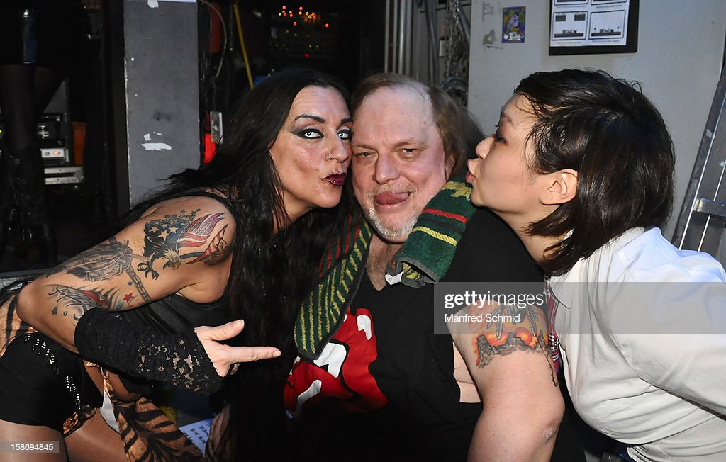 Biggie Waite, Chris Bauer and Sarah Lee pose backstage during the heavy X-mas concert at Szene Wien music club on December 20, 2012 in Vienna, Austria.