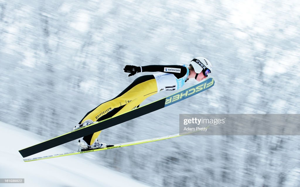 Bigna Windmueller of Switzerland jumps in the first round of competition during day one of the FIS Women's Ski Jumping World Cup at Zao Jump Stadium on February 9, 2013 in Yamagata, Japan.