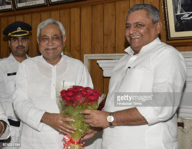 Bihar Assembly Speaker Vijay Chaudhary greets Bihar Chief Minister Nitish Kumar after trust vote on July 28 2017 in Patna India Newly swornin Chief...