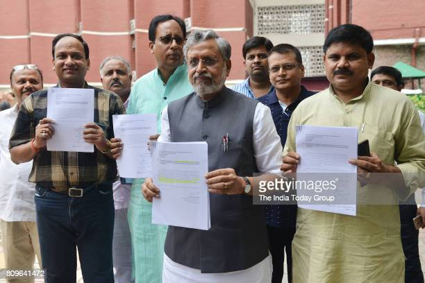 Bihar BJP leader Sushil Modi accompanied by a party delegation after meeting the Election Commission in New Delhi