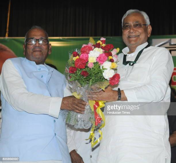 Bihar Chief Minister and JD chief Nitish Kumar at National Council meeting of the party on August 19 2017 in Patna India Nitish Kumar said party...