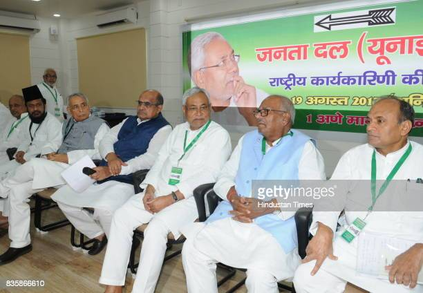 Bihar Chief Minister and JD chief Nitish Kumar with KC Tyagi and other leaders at National Council meeting of the party on August 19 2017 in Patna...