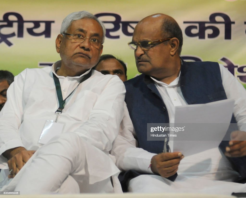 Bihar Chief Minister and JD(U) Chief Nitish Kumar with KC Tyagi at National Council Meeting of the party, on August 19, 2017 in Patna, India. Nitish Kumar said that party leader Sharad Yadav was free to take his decision and asserted that the straying of a handful of people would have no impact on the party as battle lines between the two factions appeared drawn.