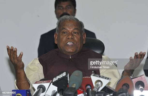 Bihar Chief Minister Jitan Ram Manjhi hold a press conference after meeting with Prime Minister Narendra Modi at Bihar Niwas on February 8 2015 in...