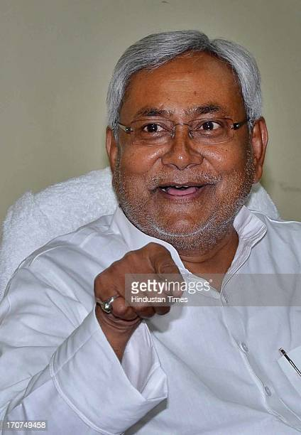 Bihar Chief Minister Nitish Kumar addressing media persons after Janata Darbar at his official residence on June 17 2013 in Patna India He blamed the...