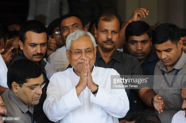 Bihar Chief Minister Nitish Kumar after winning trust vote at Bihar Assembly on July 28 2017 in Patna India Newly swornin Chief Minister of Bihar won...