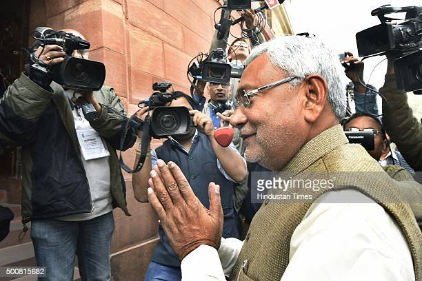 Bihar Chief Minister Nitish Kumar arrives to meet Prime Minister Narendra Modi at Parliament during the Winter Session on December 10 2015 in New...