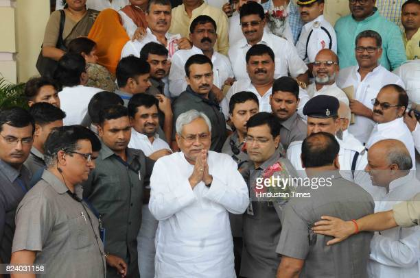 Bihar Chief Minister Nitish Kumar comes out of the Bihar Legislative Assembly after winning the trust vote on July 282017 in Patna India Newly...