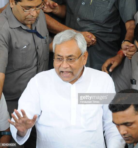 Bihar Chief Minister Nitish Kumar comes out of the Bihar Legislative Assembly after winning the trust vote on July 28 2017 in Patna India Newly...