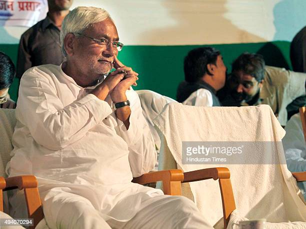 Bihar Chief Minister Nitish Kumar during an election campaign on October 24 2015 in Patna India Kumar raised the issue of rise in price of pulses and...