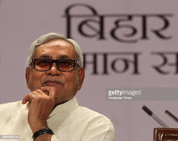 Bihar Chief Minister Nitish Kumar during Bihar Samman Samaroh at Mavalankar Hall function organised by Delhi Government on August 19 2015 in New...