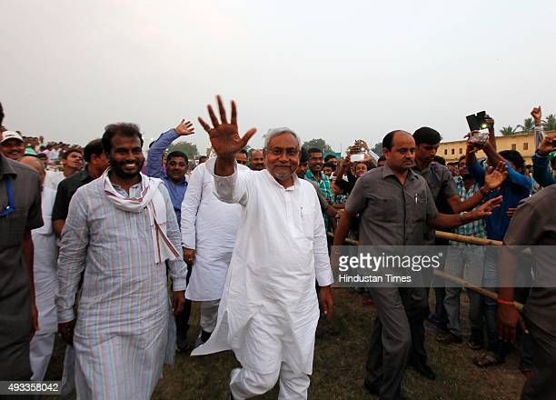 Bihar Chief Minister Nitish Kumar during his election campaign rally at Phulwari Sharif on October 19 2015 in Patna India Bihar will hold fivephase...