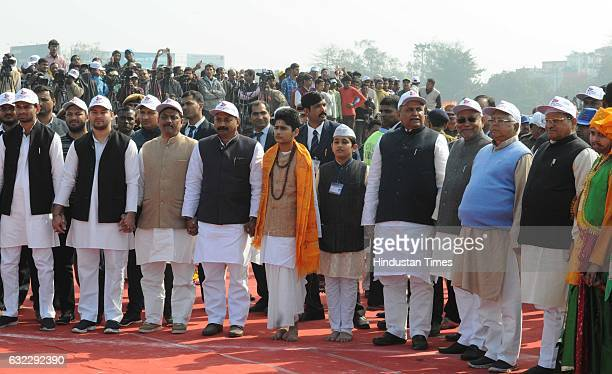 Bihar Chief Minister Nitish Kumar Grand Alliance leaders RJD Chief Lalu Yadav Congress Chief Ashok Chaudhary Cabinet ministers along with local...