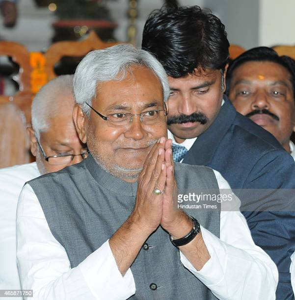 Bihar Chief Minister Nitish Kumar greets his MLAs before the confidence motion in State Assembly on March 11 2015 in Patna India Bihar Chief Minister...