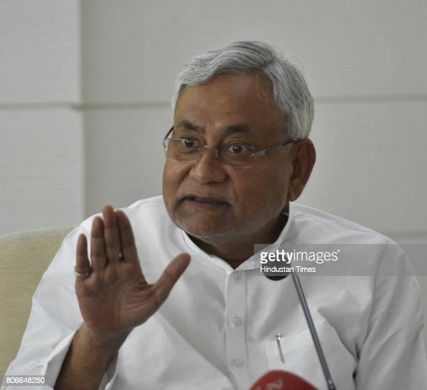 Bihar Chief Minister Nitish Kumar interacting with people during Lok Samvad programme at 1 Anne Marg deputy CM Tejashwi Yadav is also seen on July 3...