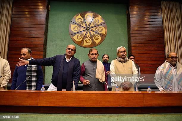 Bihar Chief Minister Nitish Kumar KC Tyagi Sharad Yadav and other party leaders attending National Executive Meeting of Janata DalUnited at...