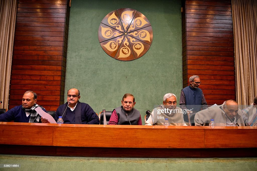 Bihar Chief Minister Nitish Kumar, KC Tyagi, Sharad Yadav and other party leaders attending National Executive Meeting of Janata Dal-United (JD-U) at Parliament Annexe on December 20, 2015 in New Delhi, India.
