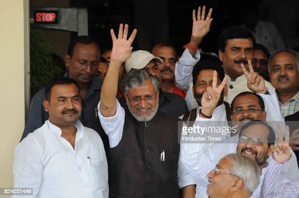 Bihar Deputy Chief Minister Sushil Kumar Modi after winning trust vote at Bihar assembly on July 28 2017 in Patna India Newly swornin Chief Minister...