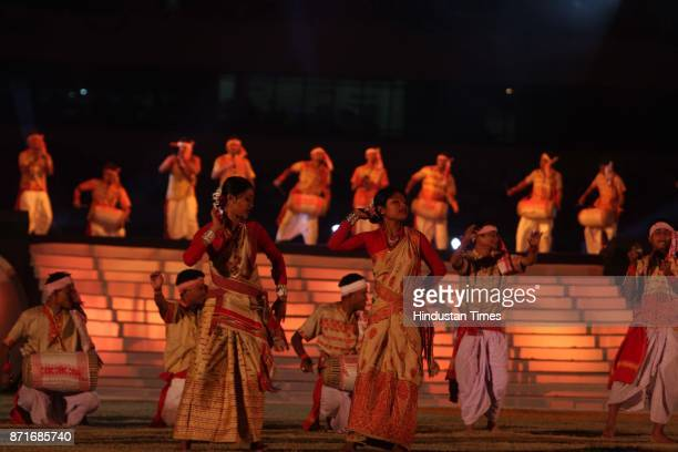 Bihu dancers perform during the inaugural function of the 34th National Games at Birsa Munda Athletic stadium in Ranchi