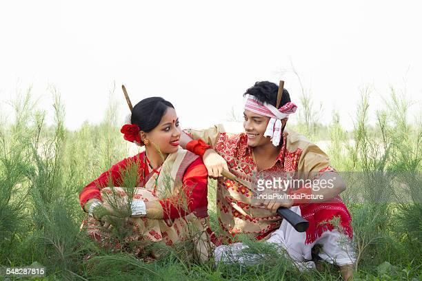 Bihu dancers sitting together