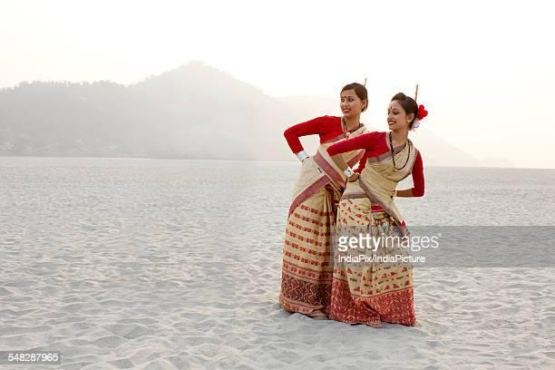 Bihu women dancing