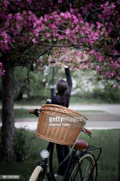 Bike and girl picking flowers in a park