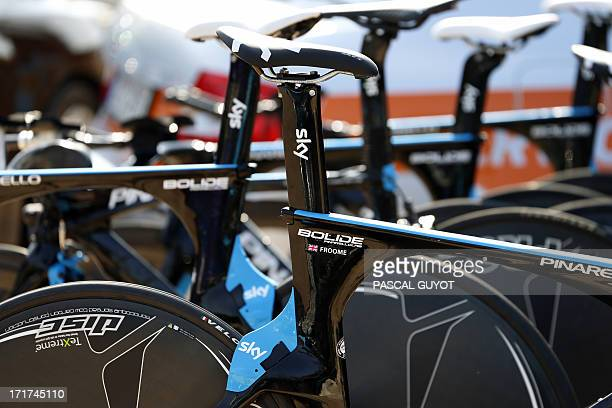 A bike bearing the name of Sky team rider Britain's Christopher Froome is pictured on June 27 2013 in PortoVecchio on the French island of Corsica...