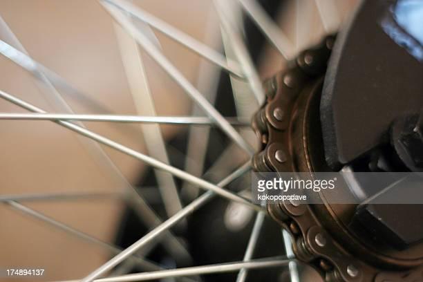 Chaîne de vélo, pignons et roues, peu profond DOF