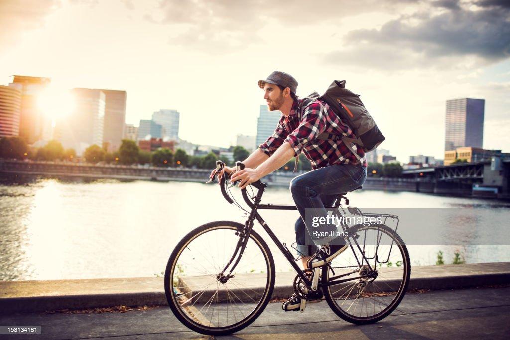 Bike Commuter in Portland Oregon : Stock Photo