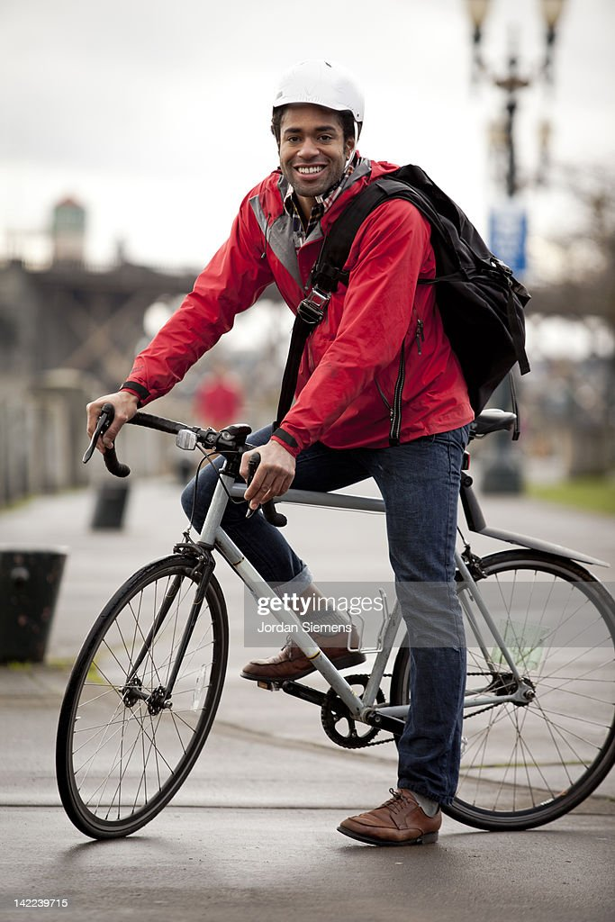 Bike Commuter in the city. : Stock Photo