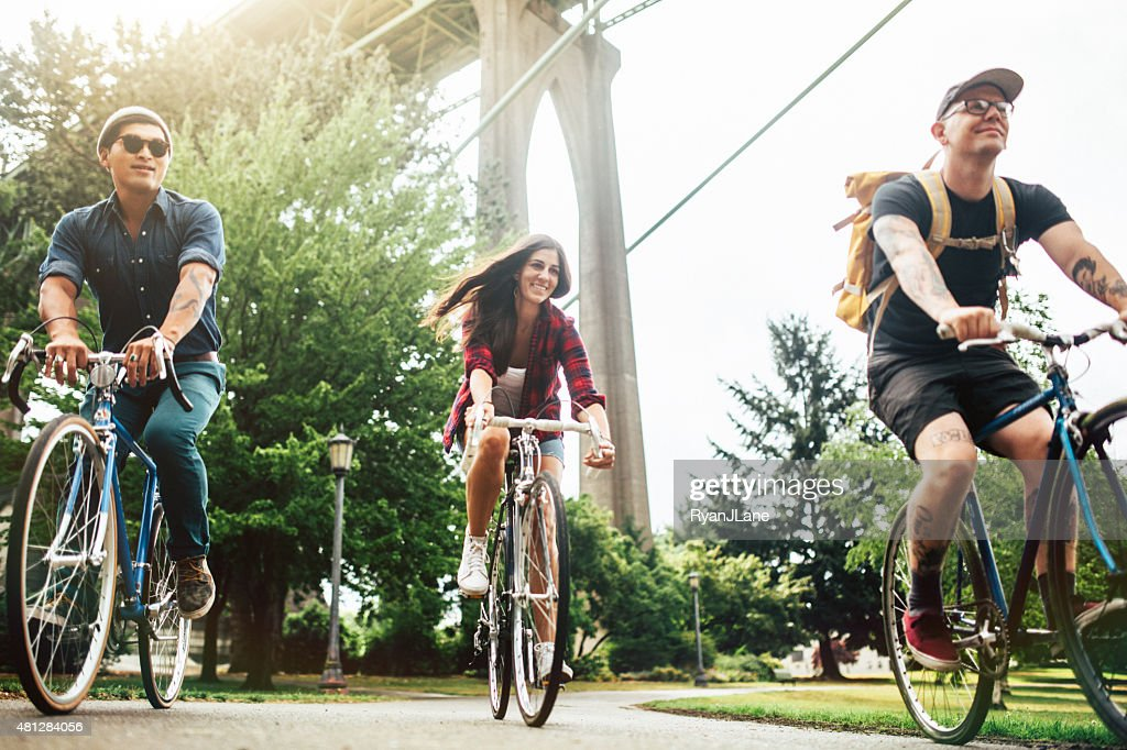 Bike Commuters in Portland Oregon : Stock Photo