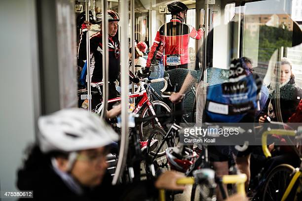Bike enthusiasts transport their bicycles in a train to take part at the 8th Garmin Velothon on May 31 2015 in Berlin Germany Ten thousand bike...