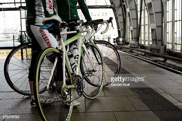 Bike enthusiasts wait on a platform to transport their bicycles in a train to take part at the 8th Garmin Velothon on May 31 2015 in Berlin Germany...