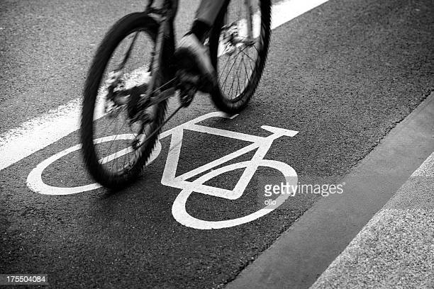 Bike lane, black and white