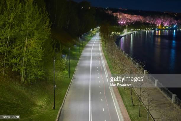 Bike Lane next to the river at night