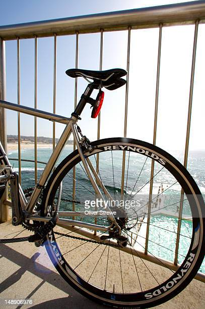 Bike locked outside Bondi Icebergs pool, South Bondi.