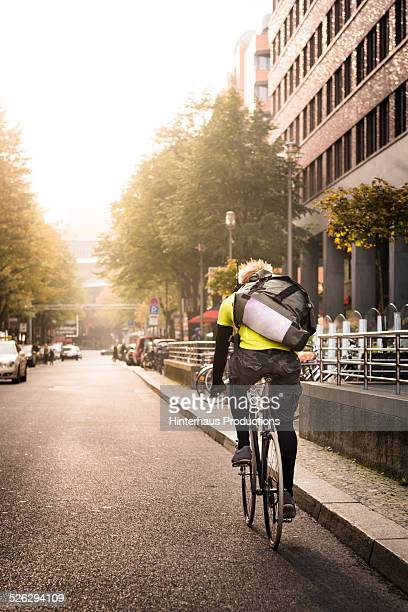 Bike Messenger On Bicycle