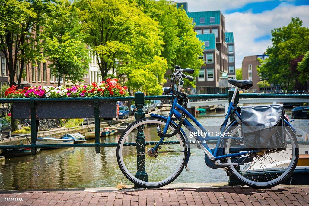 Bike on the bridge in Amsterdam, Netherlands : Stock Photo