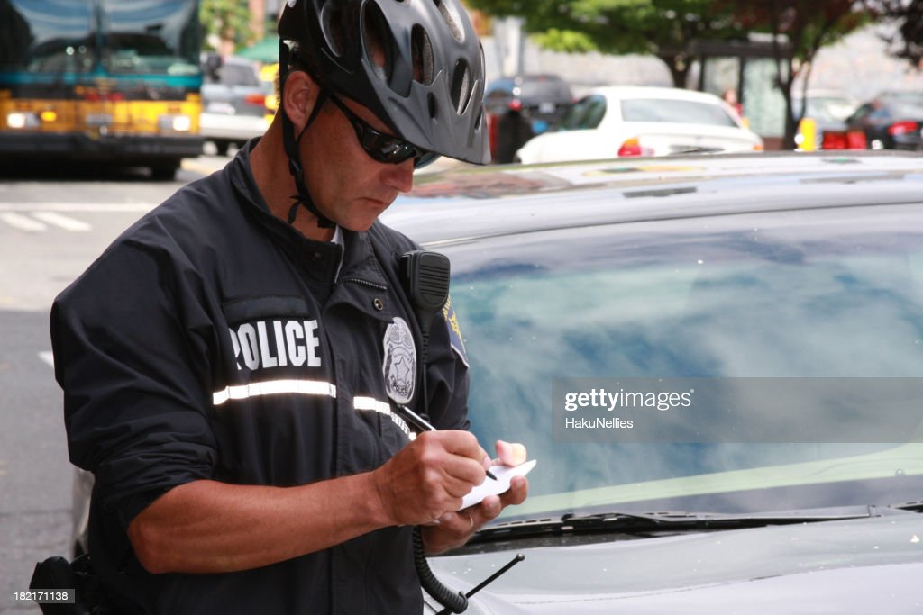 Bike Patrol Police Officer Working : Stock Photo