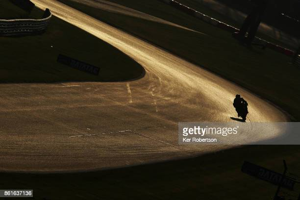 Bike rides along the Cooper Straight in the final race of the British Superbike Championship at Brands Hatch on October 15 2017 in Longfield England