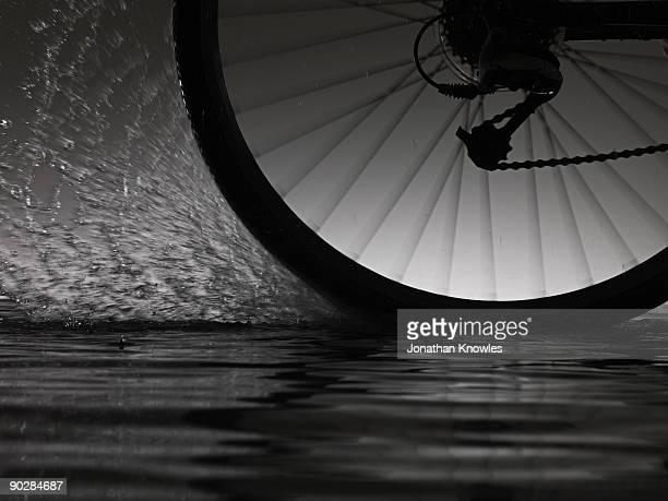 Bike riding  through water