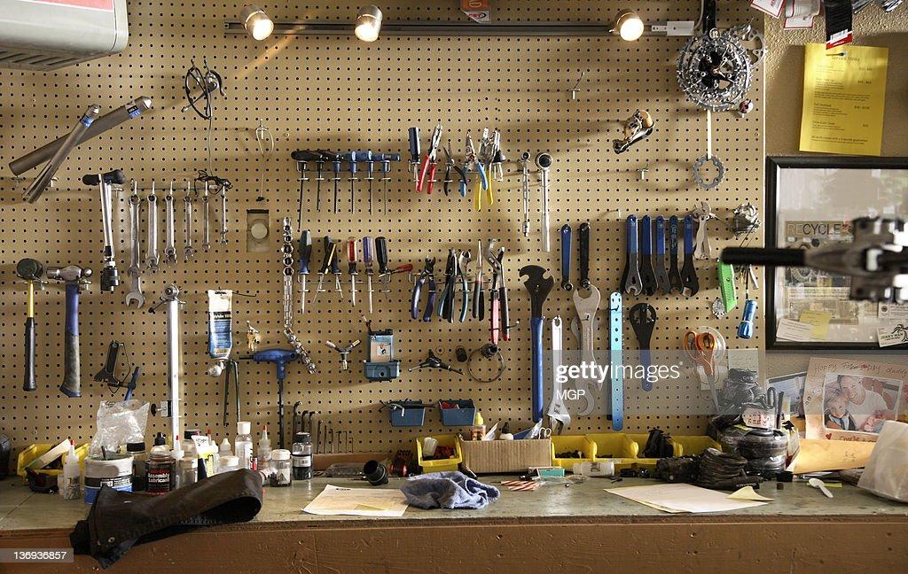 Bike shop work bench : Stock Photo