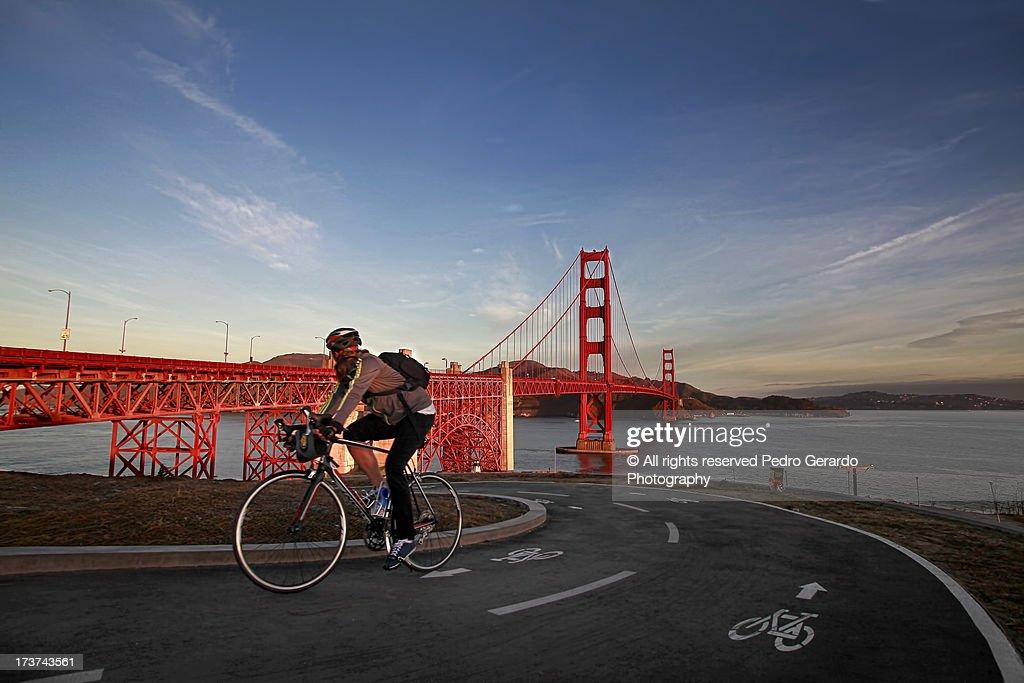 Biker at the Golden Gate Bridge