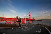 Biker at the Golden Gate Bridge